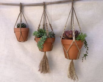 Set of 3 Macrame Jute Plant Hangers/ Jute Pot Hangers/ Jute Plant Holders/ Jute Pot Holders / Indoor Planters