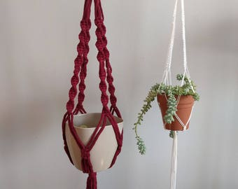 Macrame hanging pot holder/ hanging planter / modern macrame/ macrame boho planter/ Valentines day wine colored plant hanger