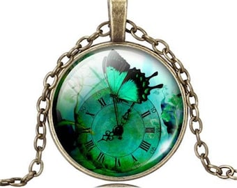 Tibetan silver and Glass Clock with Butterfly Pendant