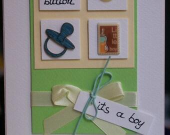 Cute as a button boy handmade card