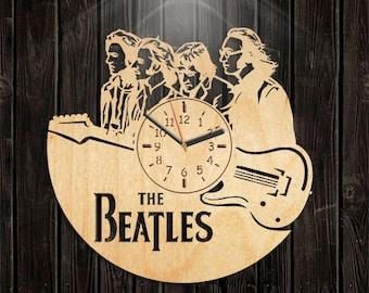 Valentines Day Gift, Handmade Clock, Handmade Gifts, Wall Clock Large, Beatles Wooden Clock, Beatles Wood Clock, Music Gift For Men