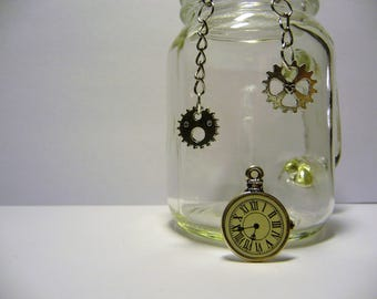 BURTON: Silver clock earrings
