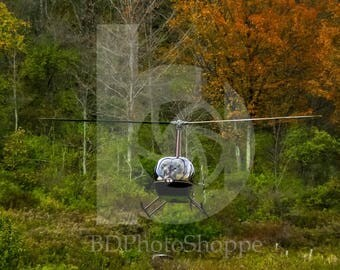 Helicopter with Fall Foliage | Aviation Photo Art | Gift | Fine Art Photography | Personalization | BDPhotoShoppe | Home Office Decor