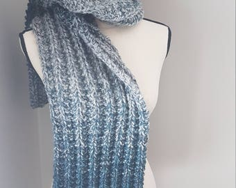 Hand knit scarf, ombré pattern, wool and acrylic blend, bulky, gray and blue