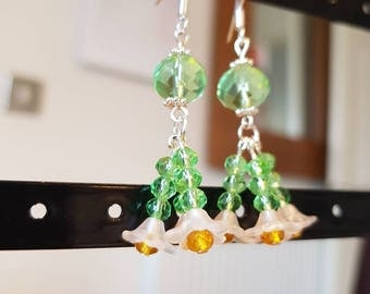 Green Flower Dangle Earrings