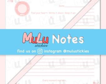 DIGITAL DOWNLOAD - MuLu Notes    Single Line / Blank Paper