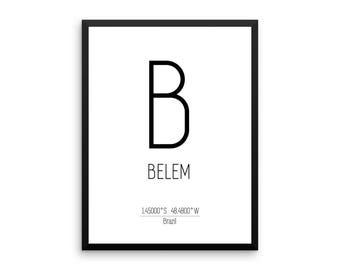 Belem Print, Belem Printable Art, Belem Coordinates, Instant Download, Digital Download, Jpg, Pdf, Brazil Poster, Wall Art Gift