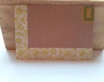 5 Lime Green decorative Flower envalopes on recycled kraft paper