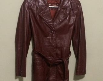 Etienne Aigner Maroon  Leather Coat
