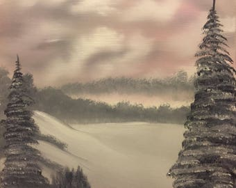 Bob Ross Style Landscape Oil Painting- Grey Winter