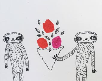 Sloths with flowers