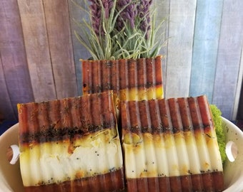 Gilded Goat Artisan Bar Soap Collection: Orange, Tumeric & Poppy Seed Goats Milk and Oatmeal Soap