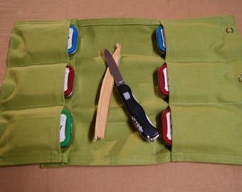 Trail snack Pouch 6 pockets. . Multi Pocket General Purpose Pouch. Bush Craft, Camping, Hiking, Hunting, Fishing, First Aid, Sewing.