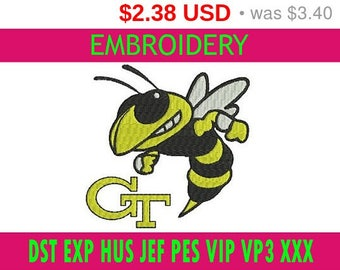 SALE 30% Georgia Tech Yellow Jackets embroidery / embroidery designs logo / Sports logo embroidery design / American football