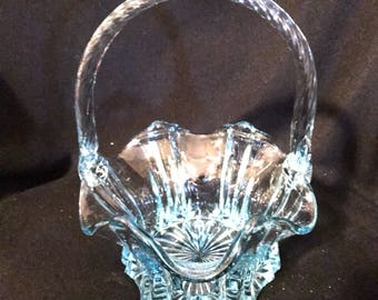 Fenton Art Glass Blue Opalescent Diamond Pattern Ruffled Basket