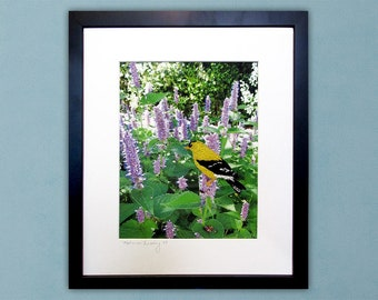 Goldfinch and Purple Flowers - Framed Thread Painting - Modern Quilted Wall Art