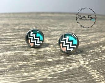 Stud Earrings ~ HYPOALLERGENIC Stainless Steel Earrings / Stud Earrings / Gifts For Her / 10mm Earrings / Bridesmaids / Chevron/ Jewelry