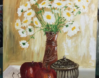 Camomile Bouquet Oil Painting