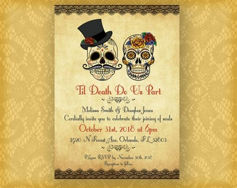 Day of the Dead Style Wedding Invite
