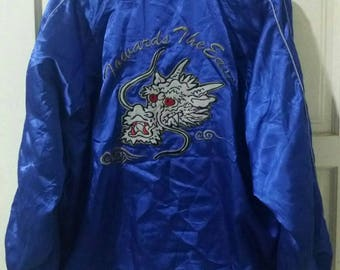 SUKAJAN DRAGON Vintage 90s Bomber Satin Jacket. Large size