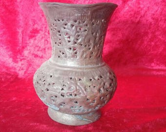 Vintage Old Antique Ottoman Art Style Hand Carved Perforated Copper Vase #1371