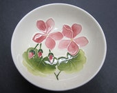 Moorcroft Pink Geranium Footed Bowl English Art Pottery