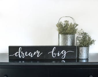 Dream Big | Wall Decor | Wood Sign | Hand-painted |