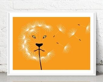 DandeLION - Giclee fine art print - Wall decor - Home decor - Gift - Lion - Animal Print