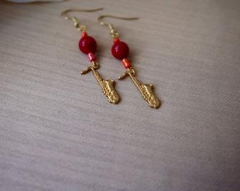 Saxophone Handmade Earrings ~  Music Instruments ~ Gifts for her ~ Valentine's Day ~ Girlfriend Gift ~ Golden Dangle Earrings ~ Birthday
