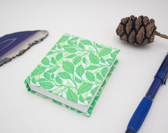 Leaves Fabric Hardcover Mini Journal Casebound Notebook