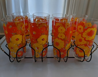 Set of 8 Eight Vintage Drinking Glasses with Serving Tray Rack