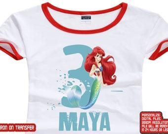 Little Mermaid Iron On Transfer , Little Mermaid Birthday Shirt DIY , Girl Birthday Shirt , DIY Little Mermaid Birthday Shirt , Digital File