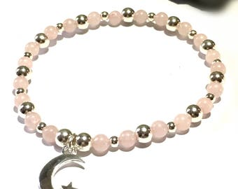Rose Quartz and Silver Bracelet, The Moon and Back, Celestial, Love Gift, Crystal Jewelry, Gemstone Beads, Gift For Her, FREE UK DELIVERY