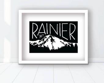 Minimalist Mt. Rainier Print