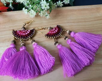 Handcraft Embroidered Haf Moon Tribal Ethnic Earrings Statement Dangle Drop Boho Chic Beaded Tassel Purple Earrings