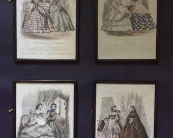 """Set of four fashion plates...""""Le Journal des Dames et des Desmoiselles"""" Edition Belge."""