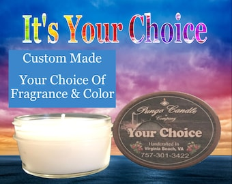 Scented Sample Jar Candles (4 oz.) Many Different Fragrances!