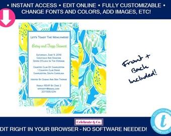 Palm Beach Chic Birthday Invitation, Bridal Shower Invitation, Bridal Shower Invite, Party Invitations,Instant Download,Fully Editable,PBCI3