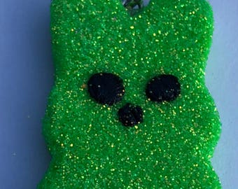 Easter Peep Glitter Polymer Clay Green Charm