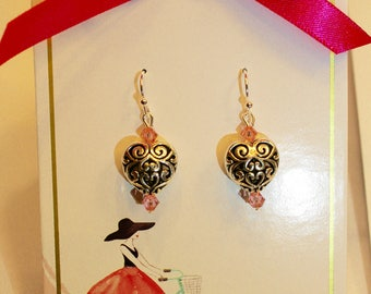 Pink Heart Earrings with Matching Gift Card and Envelope