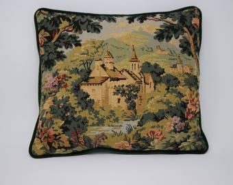 Beautiful Eclectic Tapestry Velvet Pillow/ Velvet Back Pillow