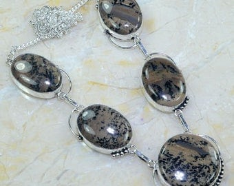 Ref2439 - silver necklace - 51cm approx. - set of Jasper with dendrites