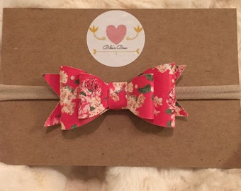 Leather Bow, floral leather, glitter bow, pink, baby pink, blue, baby blue, white, cream, nylon headband