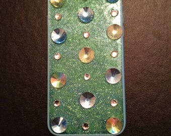 Green and blue glitter Iphone 6s case