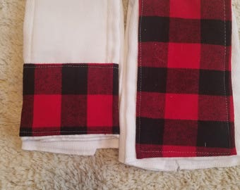 Buffalo Plaid Burp Cloth handmade 2 pack
