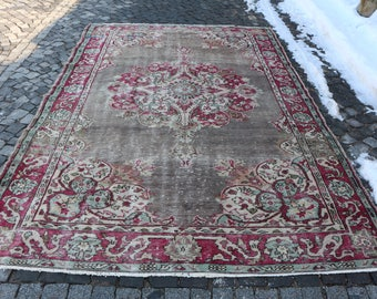 Red And Brown Color Oushak Rug Free Shipping Anatolian Rug Bohemian Area Rug 6.8 x 10.3 ft. Handknotted Turkish Rug Rustic Rug MB54