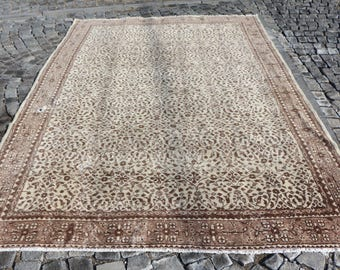 Natural Dyed Organic Wool Turkish Rug Area Rug Free Shipping 7. x 9.8 ft. Oushak Rug Flowery Aztec Rug Boho Rug Tribal Rug Ethnic Rug MB102