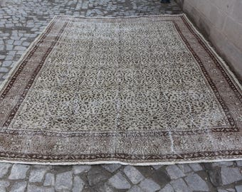 decorative rug floor rug 254x 347 ft. 8.3x11.4 Free Shipping Oushak Rug Large Rug inlaid rug brown color rug MB187