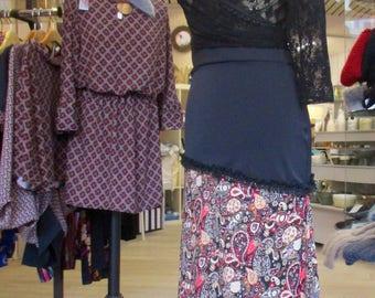 Print and black flamenco skirt