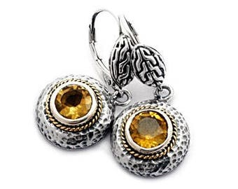 18k Gold And 925 Silver Citrine Earrings